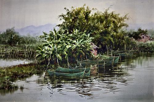 罗国贤-农村风景-水彩画