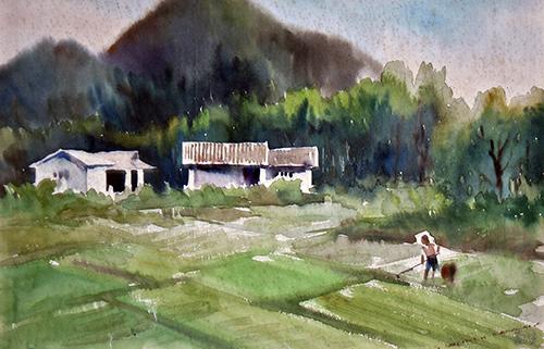 黄维-农村风景-水彩画